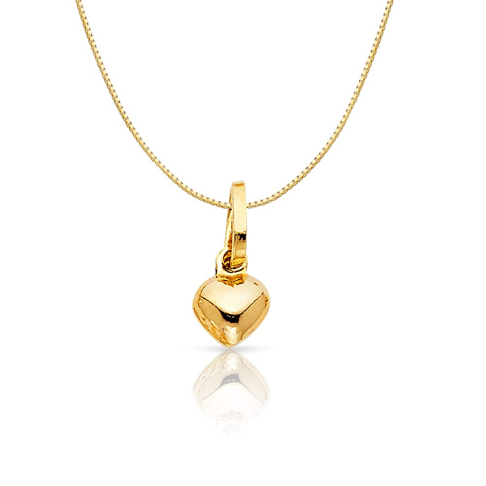 14K Yellow Gold Plain Heart Charm Pendant with 0.6mm Box Chain Necklace