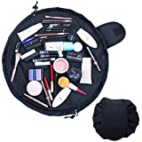 Uworth Magic Lazy Portable Makeup Bag Flat with Drawstring Large Capacity Travel Cosmetic Toiletry Bag for Women Girls Black