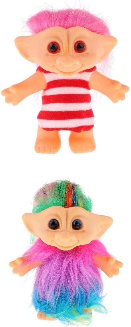 Colorful 2pcs Dollhouse Mini Figures Lucky Troll Doll Plush Leprocauns Model