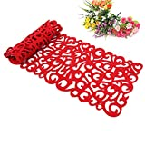Hollow Tablecloth, Openwork Floral Design Mat Simple Design Hollow Felt Table Runners Household Doilies Coffee Table Cloth 100*30cm (Red)