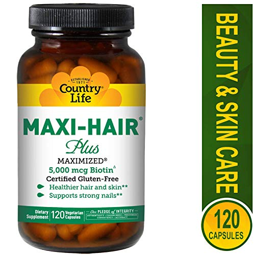 Country Life Maxi Hair Plus 5,000 mcg Biotin 120 VegiCaps (Pack of 3)