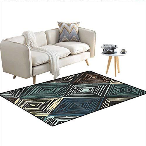 Carpet,Hand Drawn Style Rhombus Motifs in Retro Colors with Tie Dye Art Inspiration,Rug Kid Carpet,MulticolorSize:55