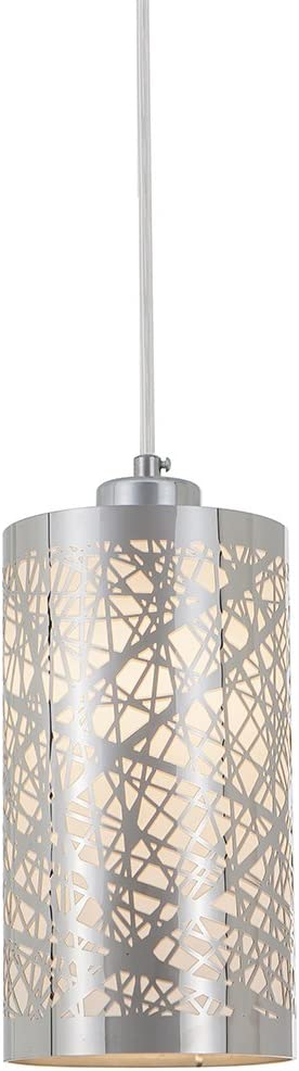 Popity home Modern Length Adjustable Hanging Dining Room Silver Linear Pendant Light, One-Light Stainless Steel Cylinder Shade Pendant Lighting Fixture with Chrome Finish