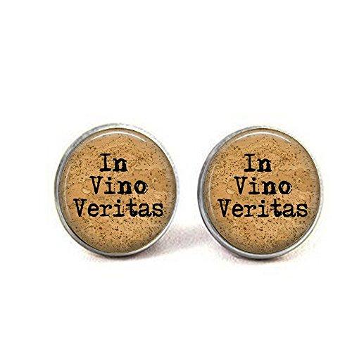 stap Wine Quote Jewelry - In Vino Veritas Cufflinks - In Wine There Is Truth - Wine Lover Gift Idea - Wine Quote Cufflinks]()