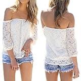 Summer Sexy Women's Hollow Yarn Sexy Off Shoulder Lace Blouse Tops Chiffon White T-shirt(White;S-XXL)