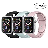BicasLove Compatible for Apple Watch Band 42mm Silicone Replacement Sport Strap Compatible for iWatch Bands Women Men S/M 3 Pack F