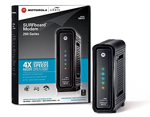 ARRIS SURFboard DOCSIS 3.0 Cable Modem (SB6121) Time Warner Cable, Charter, Cox, Cablevision, and more (Black,Retail Packaging)