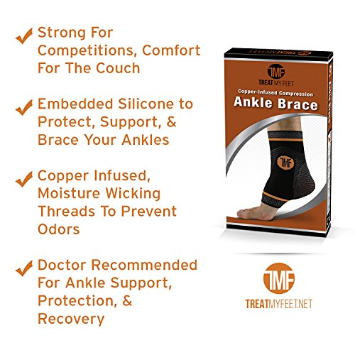 Pair of Copper Infused Compression Ankle Brace, Silicone Ankle Support w/Anti-Microbial Copper. Plantar Fasciitis, Foot, Achilles Tendon Pain Relief. Prevent and Support Ankle Injuries & Soreness by Treat My Feet (Image #2)