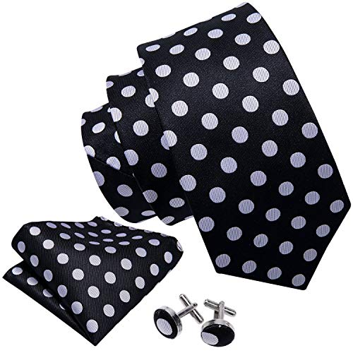 Barry.Wang Men's Fashion Polka Dot Woven Tie Set Black