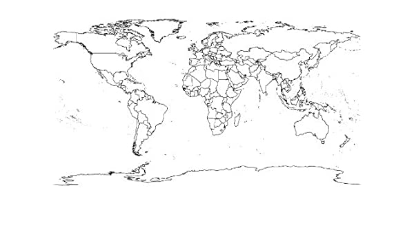 Amazon com: ConversationPrints BLANK WORLD MAP SKETCH GLOSSY
