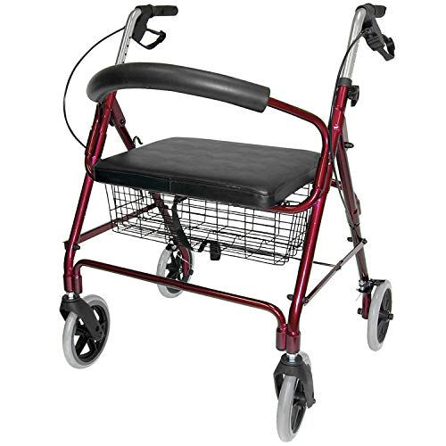 DMI Rollator Walker with Extra Wide Seat and Backrest, Adjustable Handle Height, Removable Storage Basket and a Durable Lightweight Frame that Easily Folds while Supporting up to 375 pounds, Burgundy