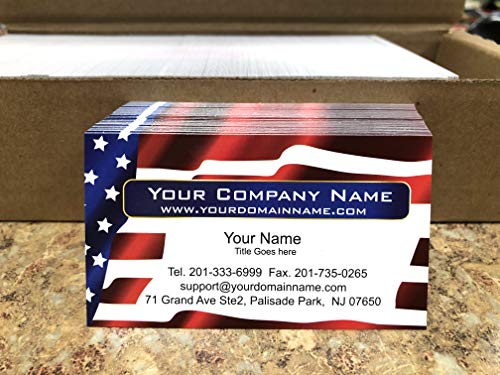Custom Business cards, 500 Full color - American Flag -US Flag front-White back (129 lbs. 350gsm-Thick paper),Us flag, Patriot card - Offset Printing, Made in The ()