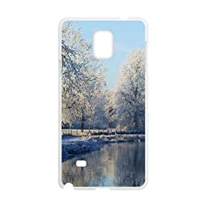 Samsung Galaxy Note 4 Case,Frozen Mist Snow Forest Hard Shell Back Case Cover Skin for White Samsung Galaxy Note 4 Okaycosama871104