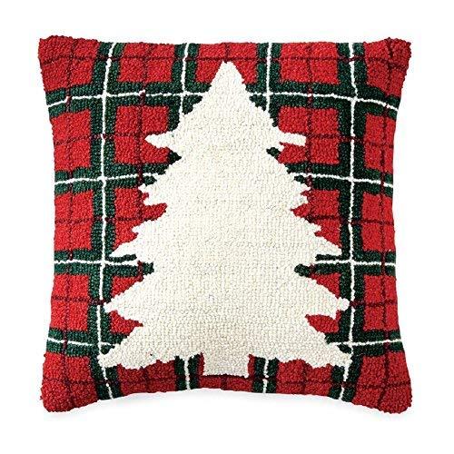Mud Pie Tartan Tree Wool Hooked Pillow Bed Accents [並行輸入品] B07RDXBTD1