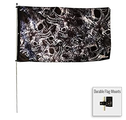 Amazon.com: 3 x 5 foot humo calavera bandera en 3/8