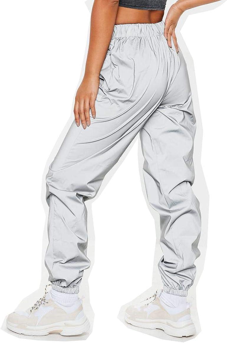 NewL Pantalones Reflectantes para Mujer Marca Casual Harajuku Night Sporting Jogger Pantalones Gris