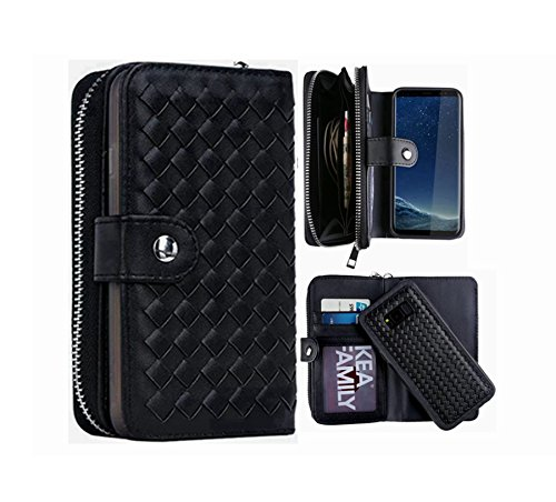 S8 Wallet Case, Hynice Detachable Galaxy S8 Case PU Leather Wallet Purse With Card Holder Zipper Pocket Removable Back Cover Shell Wrist Strap for Samsung Galaxy S8 (Weave-Black) (Weave Shell)