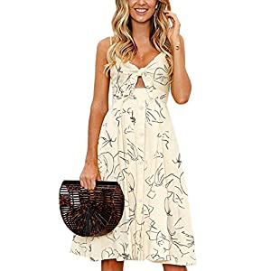 Summer Button Down Backless Swing Dress