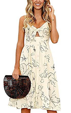 ECOWISH Womens Dresses Summer Tie Front V-Neck Spaghetti Strap Button Down A-Line Backless Swing Midi Dress 1603 Beige S