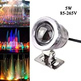 Cacys Store 5W Waterproof RGB Led Underwater Light AC85-265V Fountain Swimming Pool Landscape Lamp W/Controller (Silver)