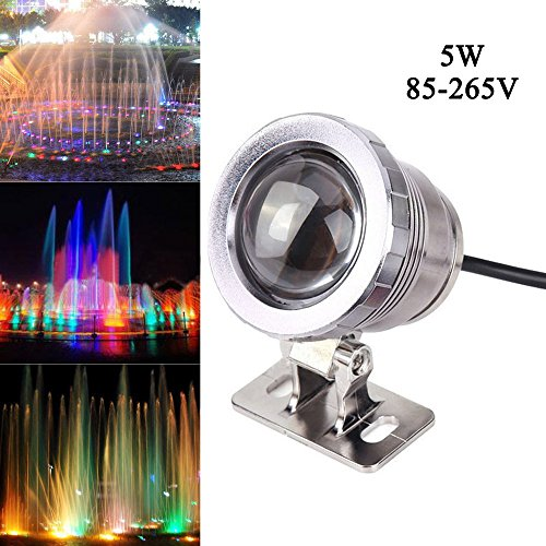 Cacys Store 5W Waterproof RGB Led Underwater Light AC85-265V Fountain Swimming Pool Landscape Lamp W/Controller (Silver) by Cacys Store