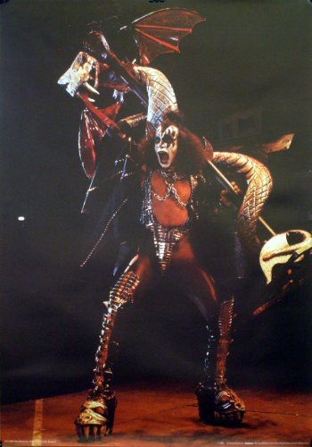Kiss Gene Simmons Serpent Love Gun Era Poster 1983