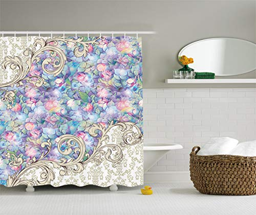 Ambesonne Ornaments Hydrangeas Romantic Flowers with Cream Color Baroque Bathroom Decorations for Her Special Collection Art Nouveau Design Decor Lilac and Pink Tones Fabric Shower Curtain
