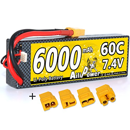 Lipo 2S RC Battery 7.4V 6000mAh 60C 2S Lipo Battery Pack with XT60 Plug and...