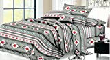 Rustic Western Southwest Native American Design 3 Piece Sheet Set Navajo Print Multicolor Grey, Turquoise, Black, White, and Red 17426 Twin Grey Sheet Set