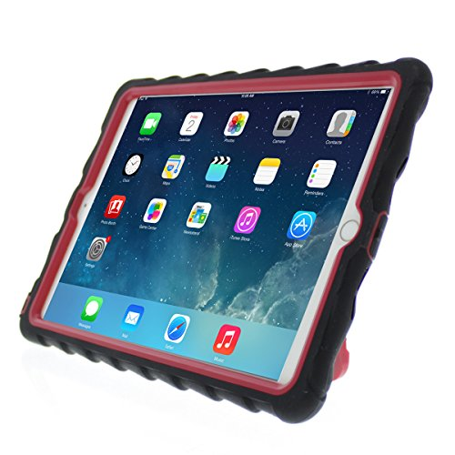 (Gumdrop Cases Apple iPad Air 2 - Hideaway with Stand - Black - Red - Silicone - Rugged Shock Absorbing Protective Dual Layer Cover Case)