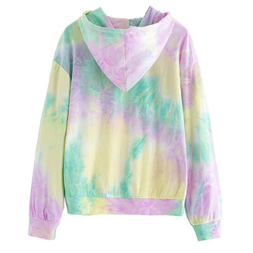 iDWZA Women Dance with Me Letters Print Colorful Hooded Sweatshirt Hoodies Tops