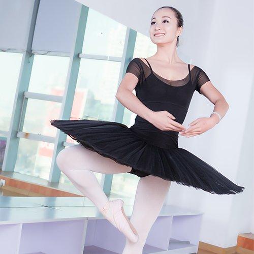 BrandChef(TM) Professional Girls Adult Ballet Half Tutu Skirt Black White Swan Lake Ballet Pancake Tutus Ballerina Hard Organdy (Platter Tutu Ballet)