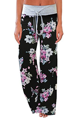 (AMiERY Women's Casual Pajama Pants Lounge High Waisted Wide Leg Comfy Drawstring Floral Print Palazzo Pj Bottoms Pants Black M)