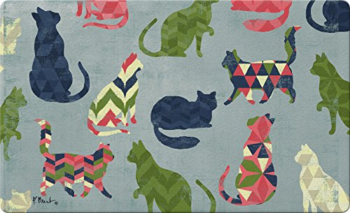 Toland Home Garden Cat Pattern 18 x 30 Inch Decorative Kitty Floor Mat Chevron Design Doormat