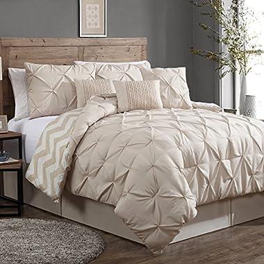 Geneva Home Fashion 7-Piece Ella Pinch Pleat Comforter Set, King, Taupe