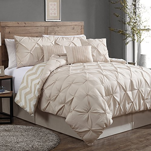 Geneva Home Fashion Avondale Manor 7-Piece Ella Pinch Pleat Comforter Set, Queen, Taupe (Beige Set Comforter)