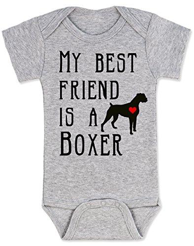 Best Friend Boxer - Vulgar Baby Bodysuit, My Best Friend is a Boxer, 6-12 MO, Heather Grey