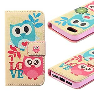 iPhone 5S Case, WKell Owl Pattern Falling Proof PU Leather Case with Stand and Solt Card for iPhone5/5S