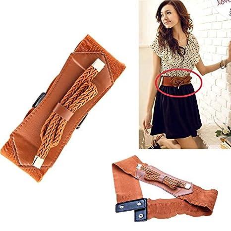 3eda9722e28b3 Amazon.com : Women Lady Retro Wide Waist Belt Elastic Stretch Waistband  Girdle Buckle Bowknot Bowtie Waist Brown : Everything Else