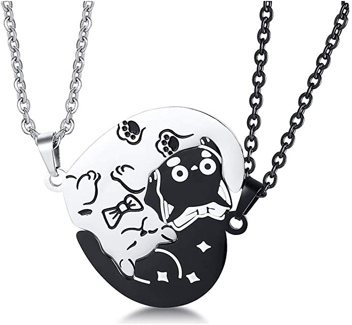 Couples Necklace Hanging Cat Necklace Cat Lovers Necklace Cat Necklace Cat with heart necklace Stainless Steel Cat
