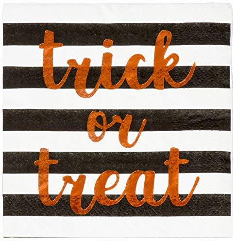 Cocktail Napkins - 50-Pack Luncheon Napkins, Disposable Paper Napkins Halloween Party Supplies, 3-Ply, Trick or Treat with Black and White Stripes Design, Unfolded 10 x 10 Inches, Folded 5 x 5 Inches -