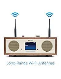 "Grace Digital Encore+ Altavoz estéreo inalámbrico inteligente y radio de Internet con Wi Fi + Bluetooth y pantalla de color de 3,5"" Walnut"