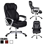 2xhome - Black - Deluxe Professional PU Leather Big Tall Ergonomic Office High Back Chair Manager Task Conference Executive Swivel Tilt Padded Arms