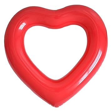 AOLVO Gigante Inflable Piscina Forma de Corazón Piscina Flotador Cuna Tubo, Agua Fun Beach Party Juguetes para niños, Adultos - Rosa: Amazon.es: Hogar