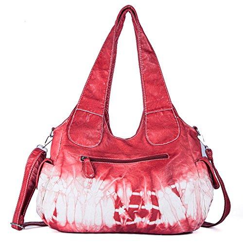 Roomy Fashion Women Street Xs160191z Pockets Tote Shoulder Hobo Handbag PU Women Multiple Red Bag for Bag ladies' Satchel Bag qAfxtYwv