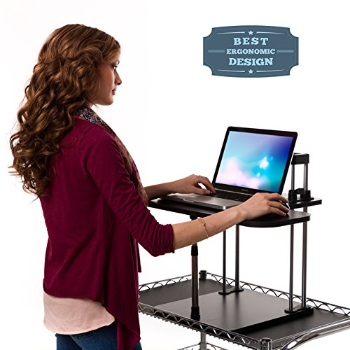 Vertical Vitality Slider - Best Adjustable Height Standing Desk for Amazing Health Benefits and Easy Assembly to Stand Up or Sit Down (Perfect for Laptops or Computer Monitors), Black (RMB-SLDR) (Tall Standing Desk compare prices)