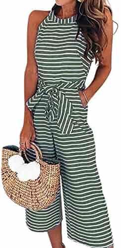 d0f62aaa4f AMiERY Womens Jumpsuits Striped Wide Leg Belted Zipper Spaghetti Strap  Capri Loose Sleeveless Jumpsuit Rompers