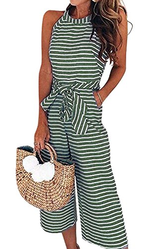- AMiERY Womens Jumpsuits Striped Casual Belted Zipper Capri Wide Leg Loose Sleeveless Jumpsuit Rompers Lounge Pants Green L