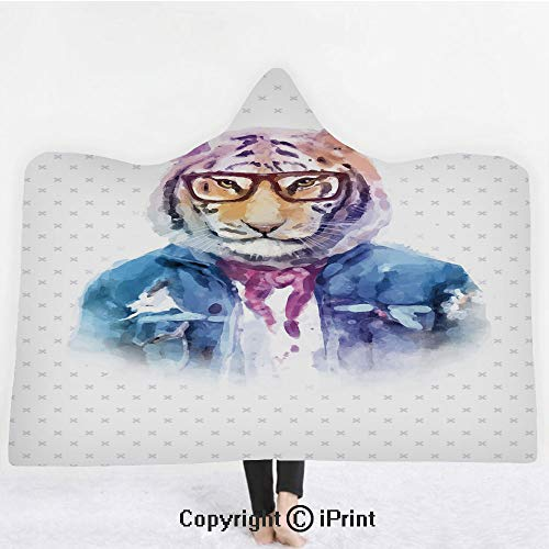 "Quirky Decor 3D Print Soft Hooded Blanket Boys Girls Premium Throw Blanket,Intellectual Tiger with Scarf Torn Denim Jacket and Glasses Watercolor Artwork Decorative,Lightweight Microfiber(Kids 50""x60"""
