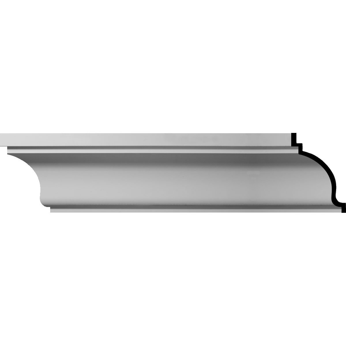 Ekena Millwork MLD09X12X14CL-CASE-8 9'' H x 11-3/4'' P x 14-1/4'' F x 96'' L Claremont Smooth Crown Molding (8-Pack)